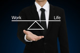 Businessman with open hand gesture presenting work life balance