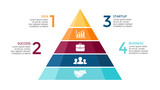 Vector pyramid up arrows infographic, diagram chart, triangle graph presentation. Business timeline concept with 4 options, parts, steps, processes.