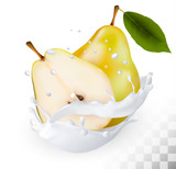Ripe yellow pears in a milk splash on a transparent background.