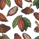 Seamless pattern of cacao fruit, beans and powder on white background, sketch style illustration. Cacao fruit, beans, powder forming seamless pattern for print, textile, wrap, backdrop design