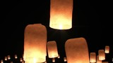 Flying Lanterns in Yeepang Festival. Beautiful 3d animation. No people. HD 1080.