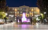 Syntagma Platz im Zentrum Athens, Griechenland, bei Nacht