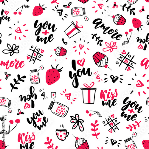 Cotton fabric Valentine s Day vector seamless pattern. Isolated Artistic doodle drawings, lettering, love quotes.