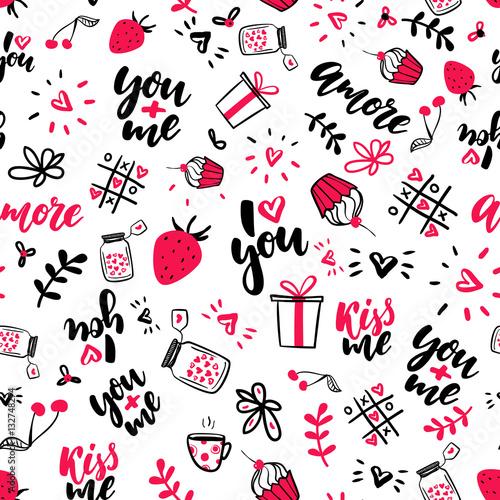 Materiał do szycia Valentine s dzień wektor wzór. Artystyczne na białym tle doodle rysunki, liternictwo, miłości, cytaty.