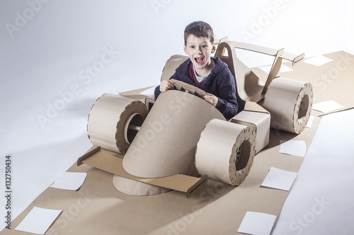Deurstickers F1 Cardboard racing car