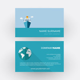 cruise ship, travel agency. vector professional business card