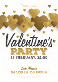 Golden Valentines Day invitation flyer. The template for the club, musical evenings. Speech by musicians, DJs. Night festive party. Background with hearts. Vector illustrations