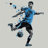 Soccer player with a graphic trail - 132754246