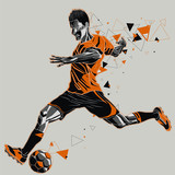 Soccer player with a graphic trail - 132754412