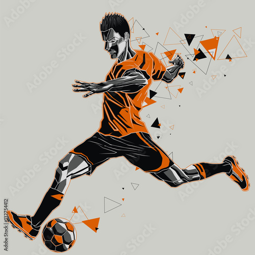Soccer player with a graphic trail