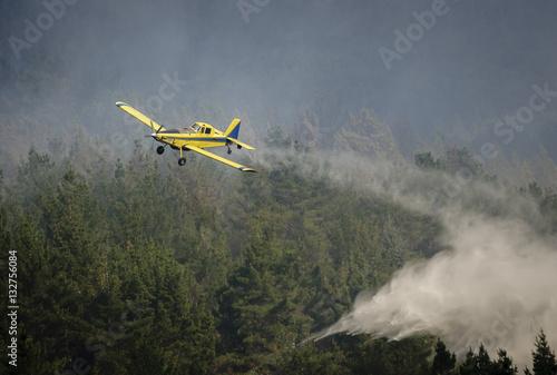 Poster Avión hidrante en acción en un incendio forestal.
