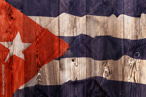 Poster National flag of Cuba, wooden background