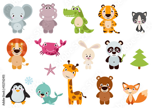 Fototapeta Big set isolated animals. Vector collection funny animals. Cute animals: forest, farm, domestic, polar in cartoon style. Giraffe, elephant, crab, rabbit, fox