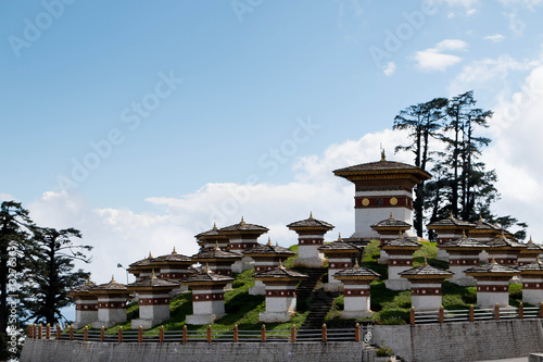 Poster Bhutan 101 Chortens place near Punakha religious monument for soldiers