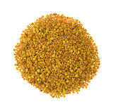 Bee pollen granules on a white background.