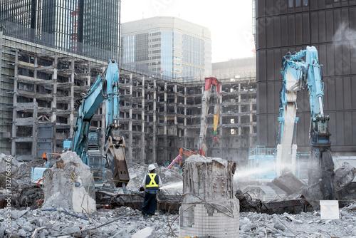 Poster Building demolition in Tokyo, Japan 東京のビル解体工事