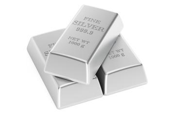 Set of silver bars, 3D rendering