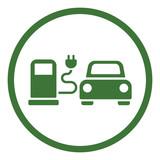 electric car automobile eco automobile green simple icon in circle