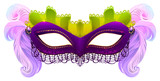 Purple carnival mask with feathers