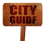 city guide, 3D rendering, text on wooden sign