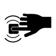 silhouette hand touch button wifi graphic vector illustration eps 10
