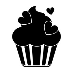 silhouette cup cake love vector illustration eps 10