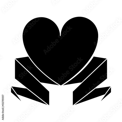 silhouette love heart with ribbon decoration vector illustration eps 10