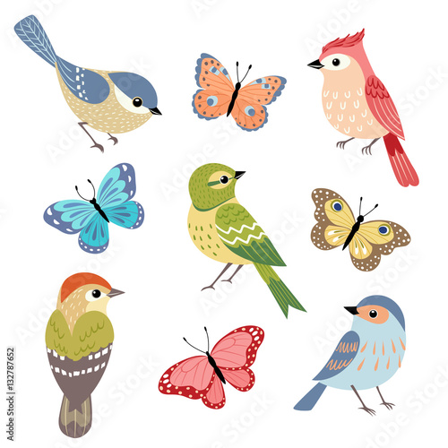 Poster Set of colorful birds and butterflies isolated on white background