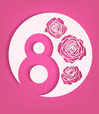 Vector cut out paper 8 march with roses woman day spring holiday transparent shadow