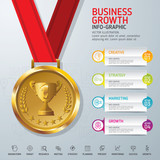 Business growth concept. Vector gold medal on red ribbon. Use for business, marketing, creative, web design, workflow, info-graphy and graphics. Vector. Background.