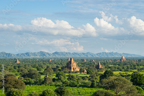 Poster Pagoda field at Bagan, Bagan is ancient city with thousands of t