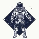 Astronaut tattoo.  Cosmonaut in deep space triangular style