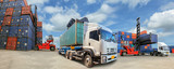 Truck with Industrial Container Cargo for Logistic Import Export business