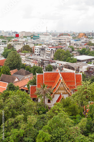 Poster Bangkok, view from the Wat Saket (the Golden Mount). Thailand.
