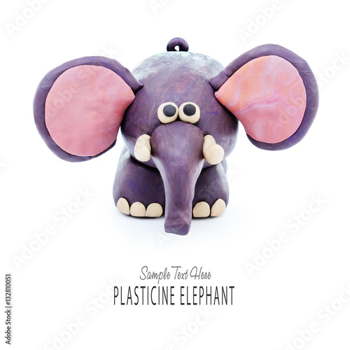 Poster Plasticine cartoon elephant