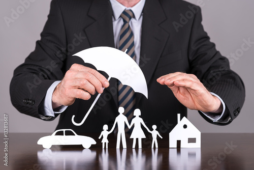 Juliste Family, house and car insurance concept