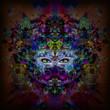 Постер, плакат: Абстрактная и мистическая женщина сталкивается с красочной иллюстрацией в темных цветах