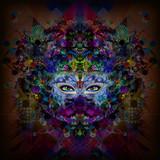 Абстрактная и мистическая женщина сталкивается с красочной иллюстрацией в темных цветах - 132821290