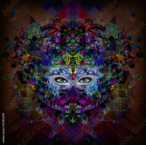Fotobehang Abstractie Абстрактная и мистическая женщина сталкивается с красочной иллюстрацией в темных цветах