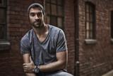 Urban dude in grey t-shirt, portrait