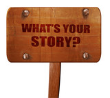 what's your story, 3D rendering, text on wooden sign - 132824415