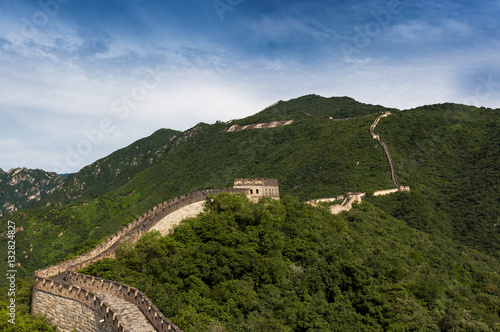 Poster View of the China Great Wall in Mutianyu, China; Concept for travel in China