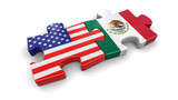 USA and Mexico puzzle from flags. Image with clipping path