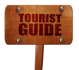 tourist guide, 3D rendering, text on wooden sign