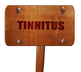 tinnitus, 3D rendering, text on wooden sign