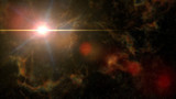 bright beautiful star shining in deep space (with colourful nebula and intense lens flare)