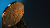 Golden Bitcoins, new virtual money on various digital background, 3D render