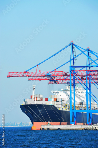 Poster Port cargo crane, ship and container