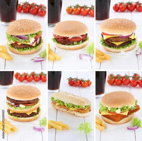 Poszter Hamburger Sammlung Collage Cheeseburger Cola Getränk