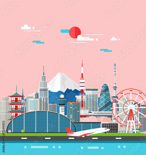 Poster Japan buildings travel place and landmark.Vector Illustration.
